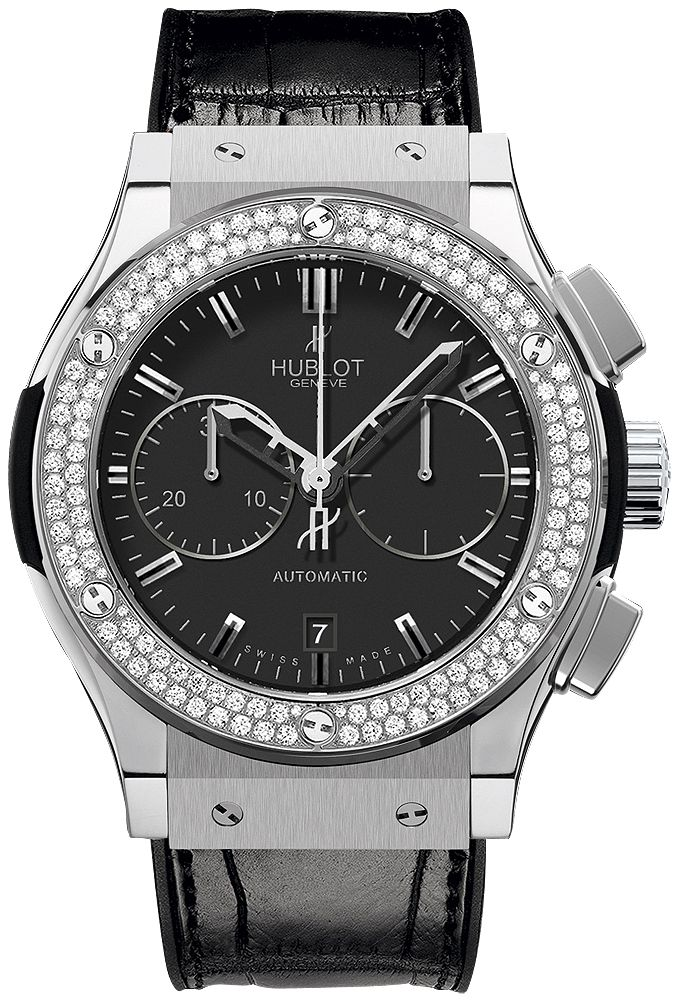 521.NX.1170.LR.1104  HUBLOT CLASSIC FUSION CHRONOGRAPH  TITANIUM DIAMONDS 45MM WATCH