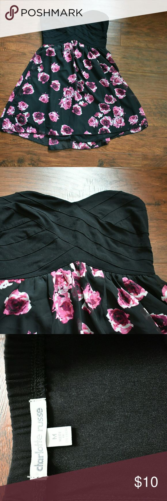 Dress Size M. However fits more like a small. Charlotte ruse dress. Blk & pink floral design. Charlotte Russe Dresses Mini