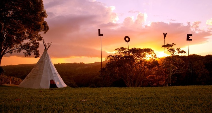 'Coorabella', nestled in the Byron Bay hinterland. Beautiful sunset. Cute teepee and 'Love' lettering.