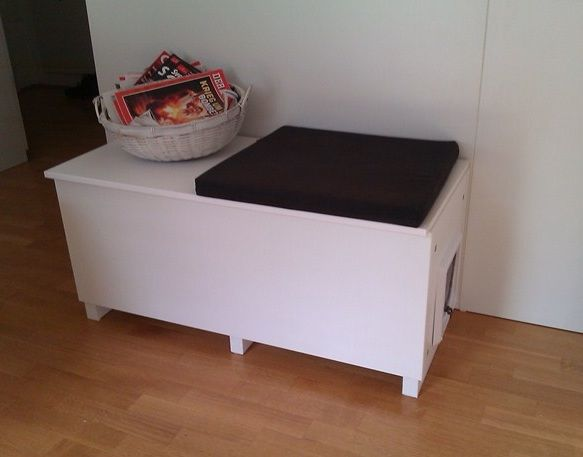 Another IKEA hack for covered litter box  Materials: FAKTUM Wall cabinet, HÄRLIG Door, INTEGRAL Hinge, spruce lath,