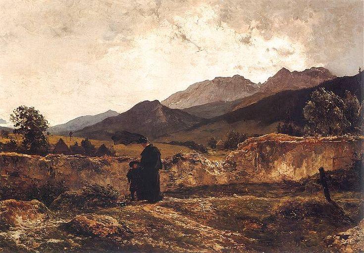 Wojciech Gerson - Cmentarz w górach, 1894