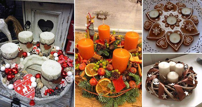 57387c006 30 inšpirácií na najkrajšie adventné vence, ktoré si viete vyrobiť aj vy |  home decorations | Vianočné stoly, Vence, Sviečky