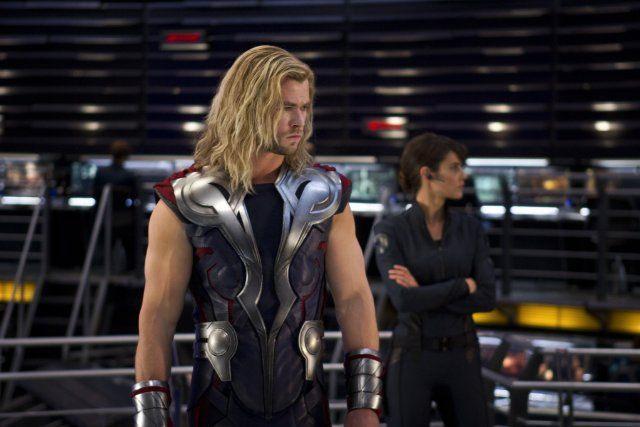 Still of Cobie Smulders and Chris Hemsworth in The Avengers