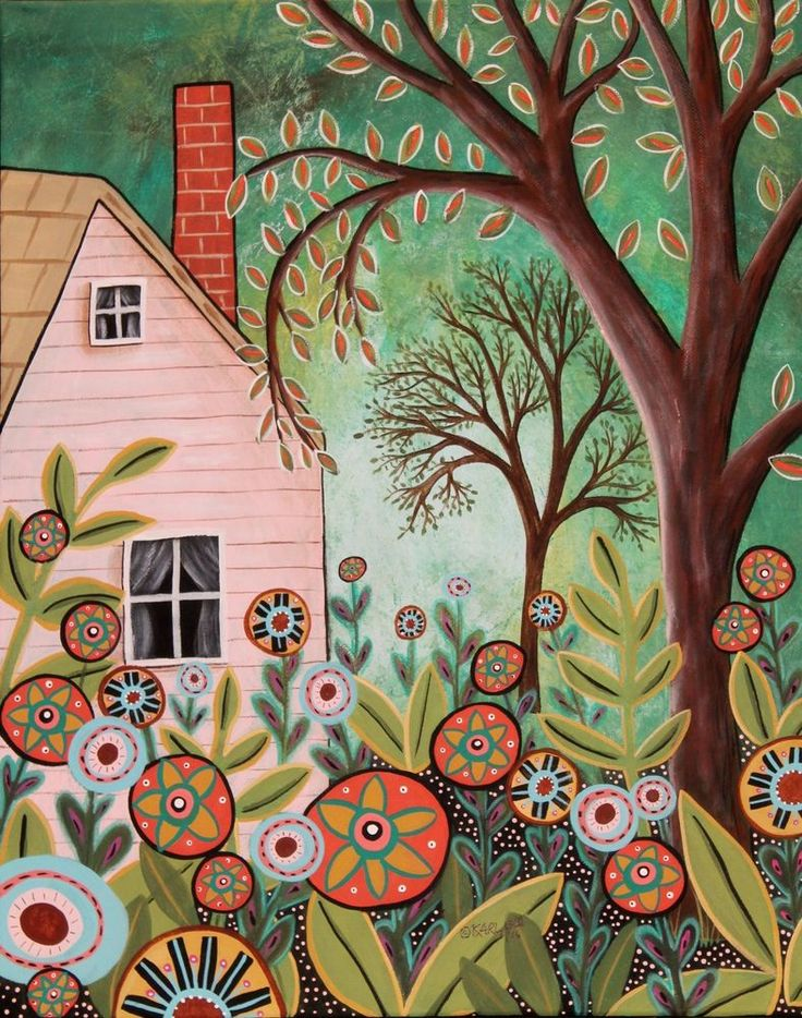 Cottage Garden ORIGINAL PAINTING 16x20 FOLK ART House Flowers Trees Karla Gerard #FolkArtAbstractPrimitive