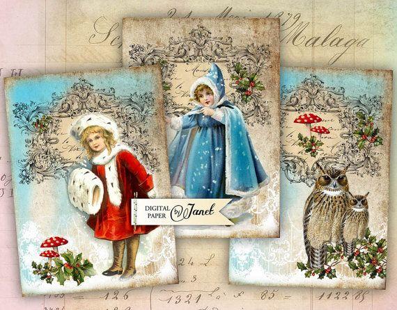Juego de Navidad - hoja de collage digital - victoriano de 6 - descargar para imprimir