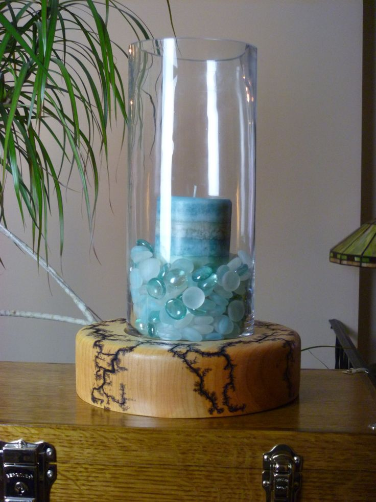 Glass and wood centerpiece by frillselectricwood on etsy