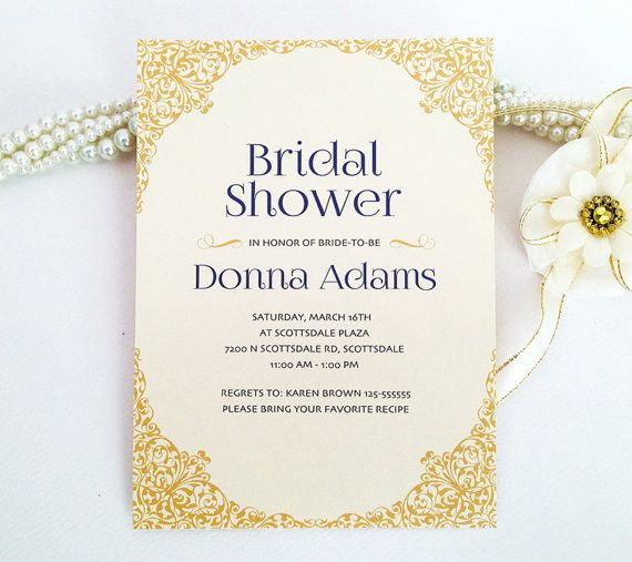 Ornate border bridal shower invitation printed on luxury cream/white pearlescent paper - Gold and blue - Chic victorian decorative border