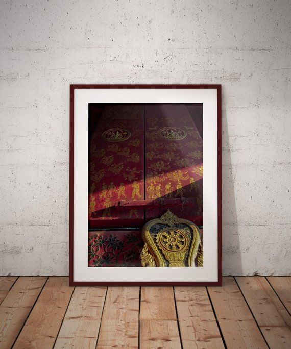 Buddha Wall Art Fine Art Prints Temple Door Laos Travel Photography Metal Wall Art Red And Gold Print Living Room Decor Gift For Her Buddha Wall Art Art Prints Art