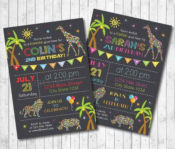Safari invitation Safari invite Jungle by funkymushrooms on Etsy