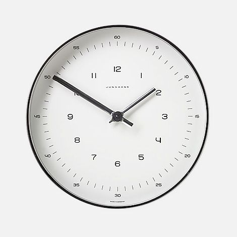 timeless wall clock designed by max bill for junghans in 1962. it makes more sense for someone learning to tell time. like me.