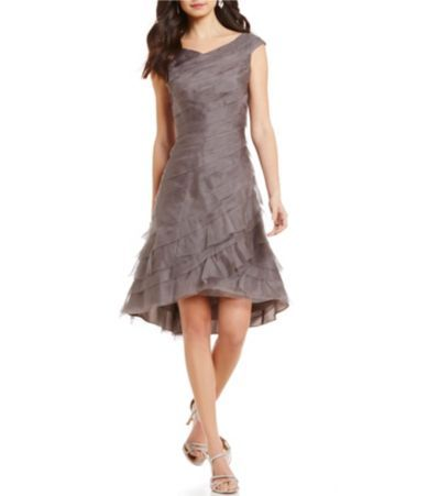 Kay Unger Ruffled Tiered Organza Asymmetrical Hem Dress   Dillards