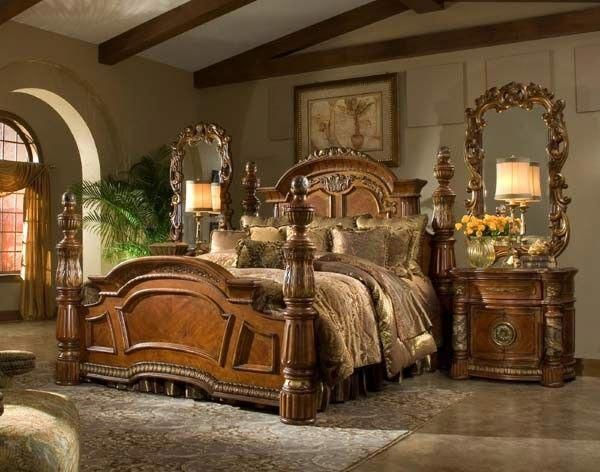 AICO Furniture - Villa Valencia 4 Piece California King Poster - Poster Bedroom Sets