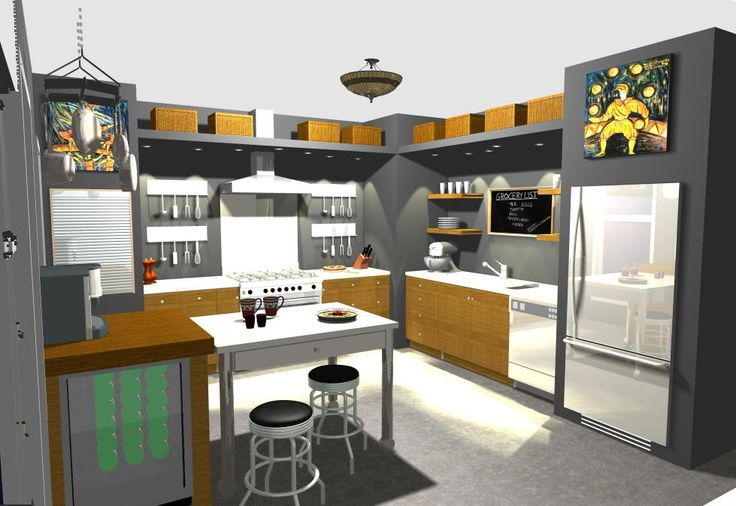 Bistro Kitchen with floating shelves, chalk board, hanging utensil rails, movable island and beverage bar