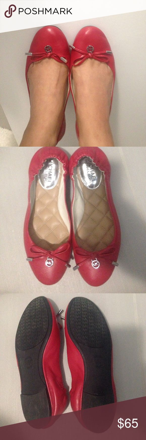 Michael Kors Red ballet flats Only wore twice!! Michael Kors Shoes Flats & Loafers