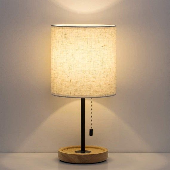Modern Nightstand Lamp With Linen Fabric Shade Wooden Desk Lamps For Bedrooms Office Coll In 2021 Modern Nightstand Lamps Bedside Table Lamps Modern Wooden Desk Lamp