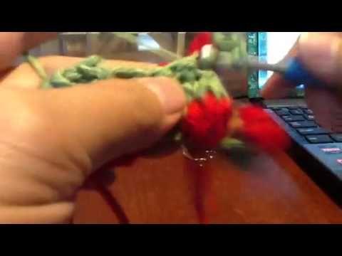 Crochet strawberry stitch-2 (redo) - YouTube