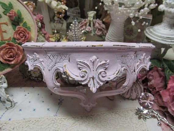 Shabby Chic Ornate Pink WALL SHELF Hand Painted with Pink