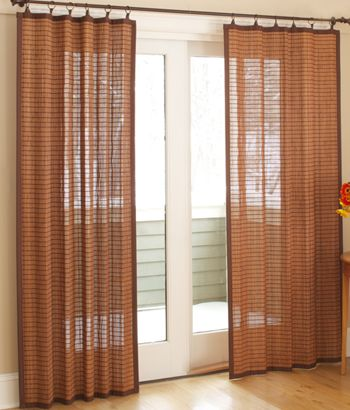 Banded Bamboo Panel $49.50+  natural, sustainable bamboo that's been fashioned into curtain panels, providing privacy and filtering the light at your window with side-to-side opening and closing. Each panel is bordered with a coordinating tonal twill tape that incorporates Antique Brass rings on the Colonial Bamboo for easy installation on a decorative rod. optional blackout liner (sold separately) http://www.countrycurtains.com/product/010150685+banded+bamboo+panel.do?sortby=ourPicks