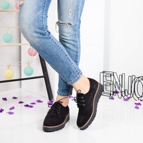Pantofi dama Elnora negri casual
