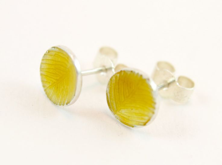 Yellow engraved enamel silver stud earrings by imogenhose on Etsy