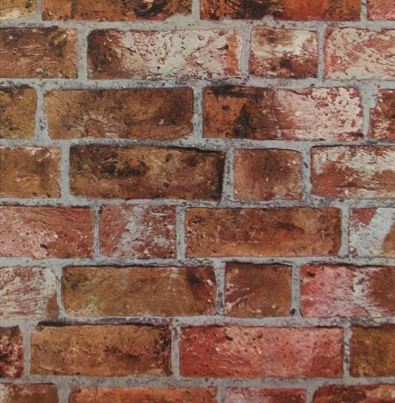 Faux Distressed Red Orange Brick and Mortar Wall - Tuscan, Aged, Old Wall, Stone, Grout, Bricks, Texture - Wallpaper By The Yard - HE1046 on Etsy, $7.25