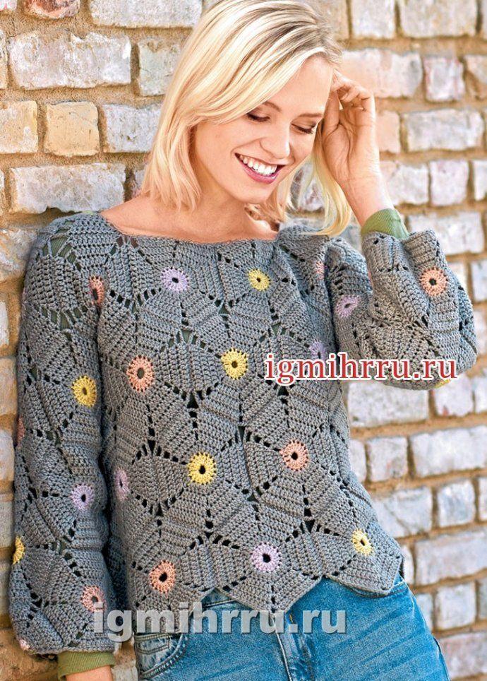 crochelinhasagulhas: Blusa em crochê com square redondo