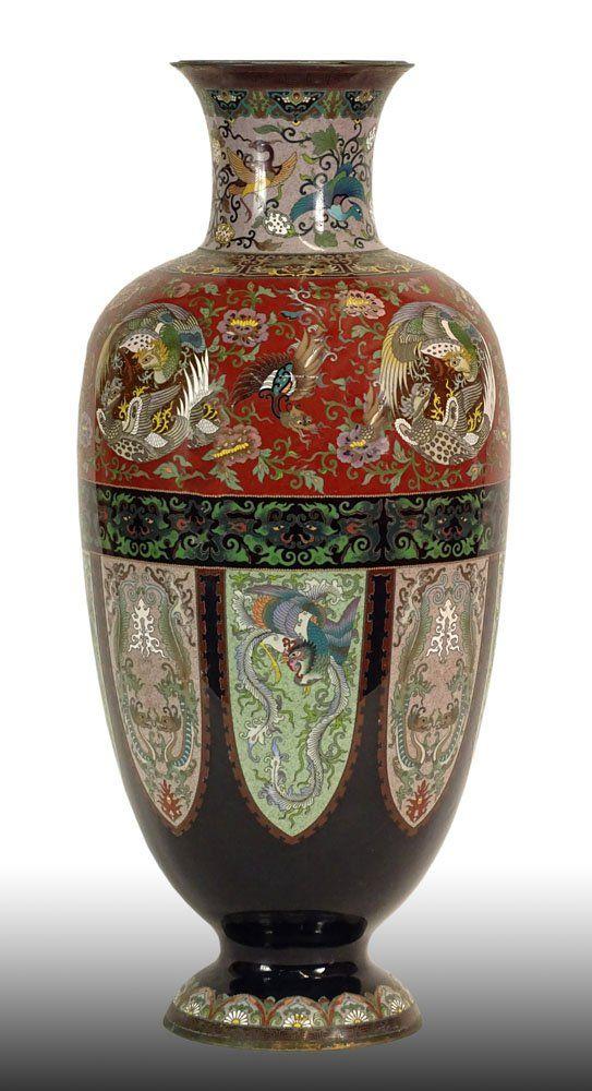 Large Meiji Japanese Cloisonné Vase. Meticulous Bird