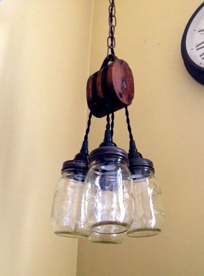 Mason Jar Light Fixture Made From An Antique Bar Pulley Www Etsy Chicagolights Custom Lighting In 2018 Pinterest Fixtures And