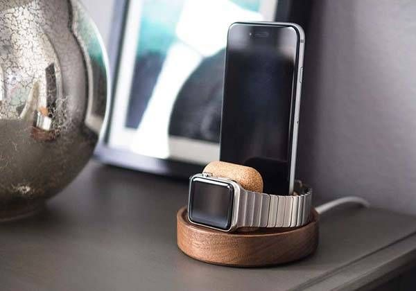 Studio Neat Material Dock Wooden Charging Station for iPhone and Apple Watch