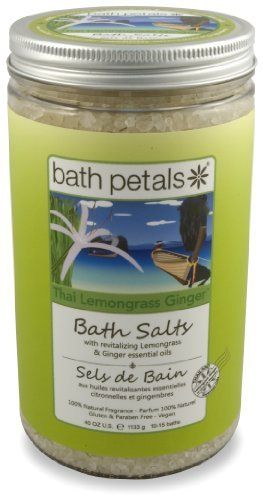 "Bath Petals - Thai Lemongrass Ginger Bath Salts, 40 OZ / 1113 g e 1015 baths by Bath Petals. $24.00. 100% Natural. Contains solar-dried Pacific sea salts, real lemongrass leaves, pure essential oils and vegetable/plant-based oils.. As featured in British Vogue! ""Deep Soak - Salt Lovers, Spa Bath Salts infused with essential oils are the only safe way to indulge in a bit of Sodium."". Gluten-Free & Cruelty-Free (Not Tested on Animals).. Aromatherapy Properties of..."