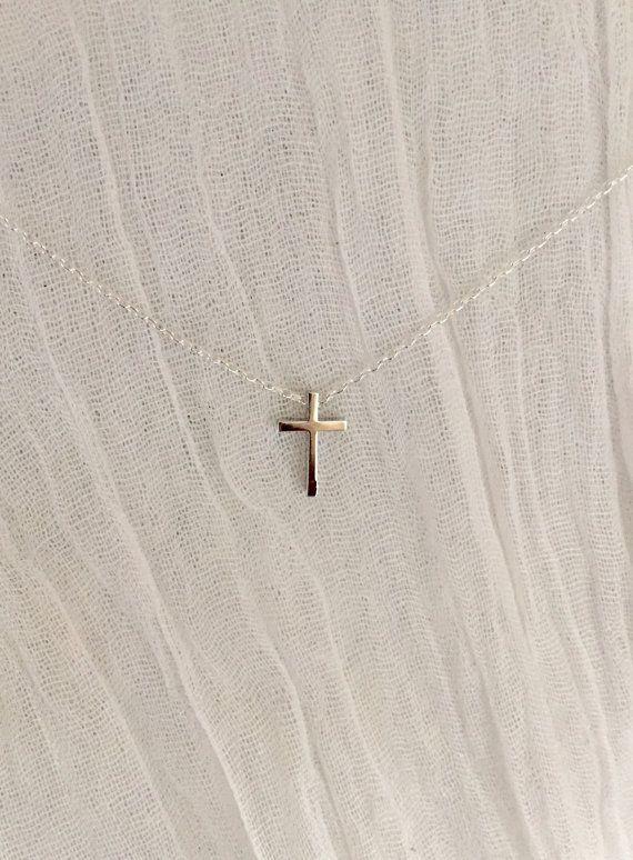 Tiny Cross Necklace-Silver Cross Necklace-Dainty by WickAndWear
