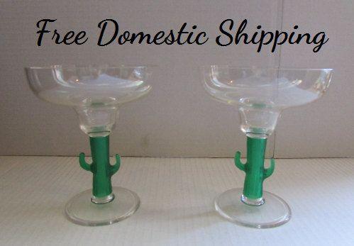 Margarita Glass,  Southwestern Style, 12 oz Margarita Plastic Bar Glass, Barware, Acrylic Bar Glasses, Cactus Stem Glasses, Free US Shipping by 4RLoveOfOldAndNew on Etsy