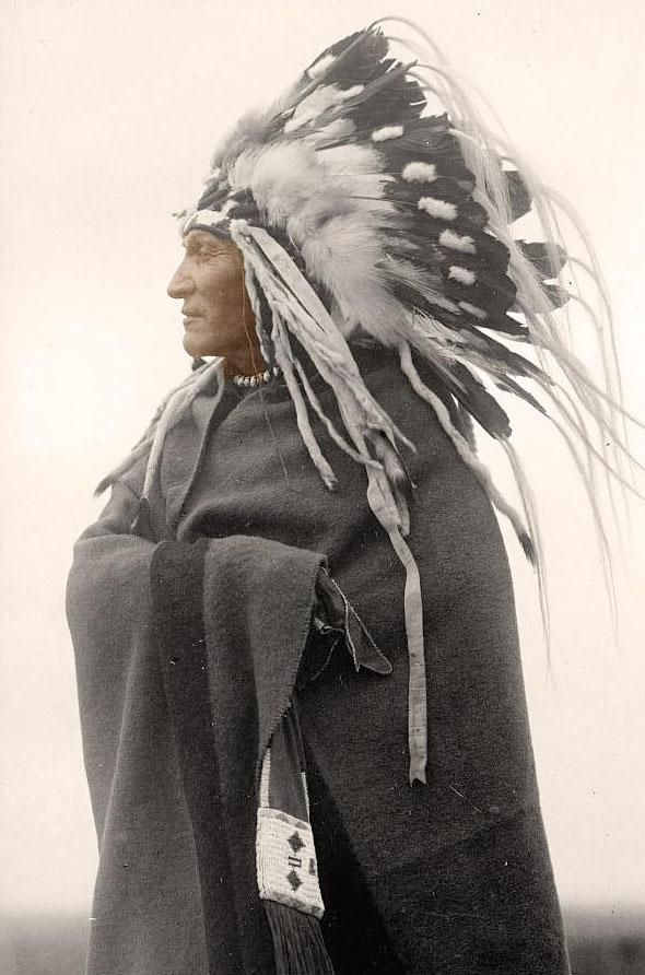 """Once again, this is making the rounds on Pinterest labeled """"Cherokee Chief"""".  The Cherokee did not wear war bonnets.  They may in Cherokee, NC for the tourists, but war bonnets, when they were worn, were only worn by the Plains peoples.  This is as ridiculous as the photos of Geronimo people put up with """"Cherokee Chief""""."""