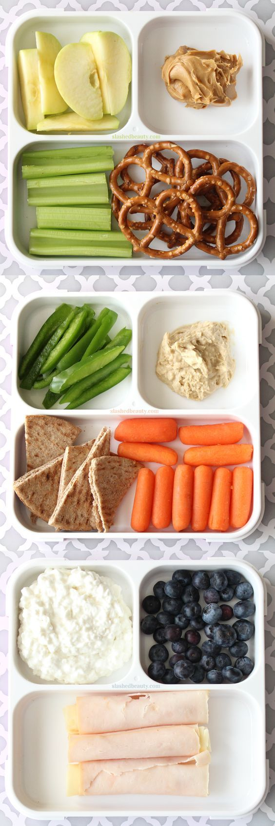 Need some healthy snack inspiration for work or school? Here are three snack pack ideas that will keep you full and on track with your fitness goals!   Slashed Beauty