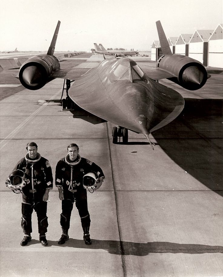 "In this undated photo, George T. Morgan (left) and Eldon ""Al"" Joersz stand by an SR-71 Blackbird. (Photo courtesy George T. Morgan)."