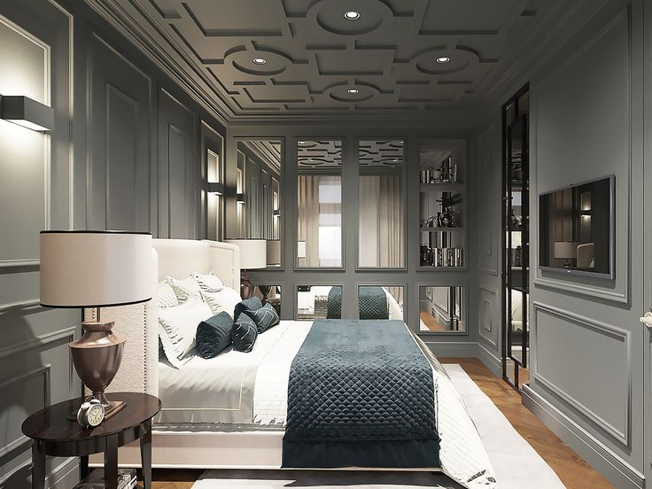 Брутальная спальня, в темных цветах, сложный потолок