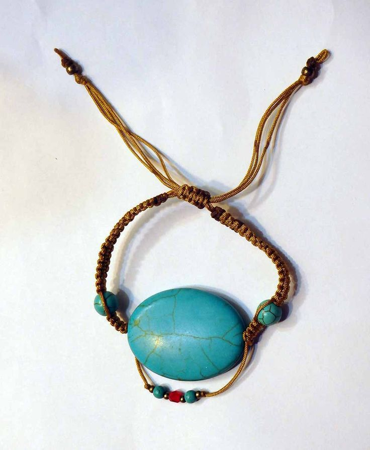 Turquoise stabilized macrame bracelet with metal charms cute for summer by SofiannasBracelets on Etsy