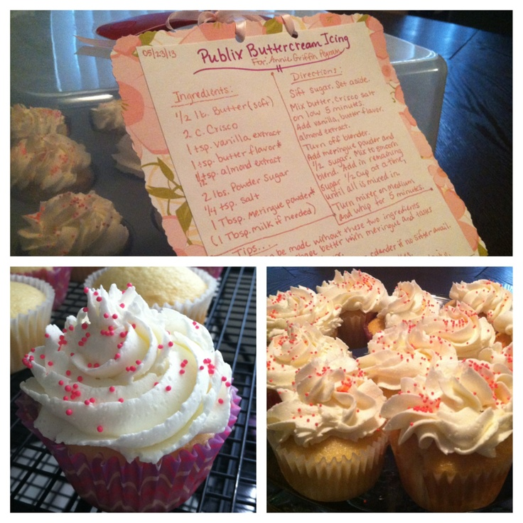Make Publix Buttercream at home! I LOVE Publix's buttercream icing! I found a recipe on copykatrecipes.com for a version to make at home. I love it so much and actually now prefer it to Publix's!!! I made this cute recipe card as a gift for a friend who currently lives in Germany and loves Publix icing and cake as much as me! Made her Some cupcakes with the icing so she could try for herself while she was visiting!!! :)