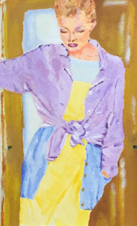 TBT Schilderij van vrouw bij deur uit 1994 #TBT #schilderij #schilderen #tekenen #creatief #jufsas #mensen #kunst #art #acryl #acrylverf #1994 #modefoto #Margriet #papier #schilderspullen #terugindetijd #stijl