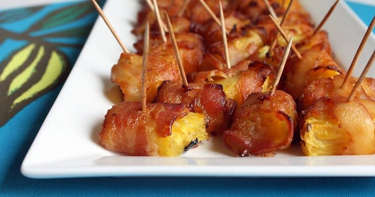 Bacon . Pineapple . Bites.  A sweet and savory appetizer  that tastes both tropical and comfort food -esque.  And yes, I did just make that ...
