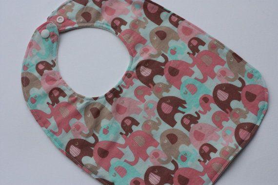 SALE  Baby Girl's bib  Elephants  Pink  by RainbowSparklesBlue