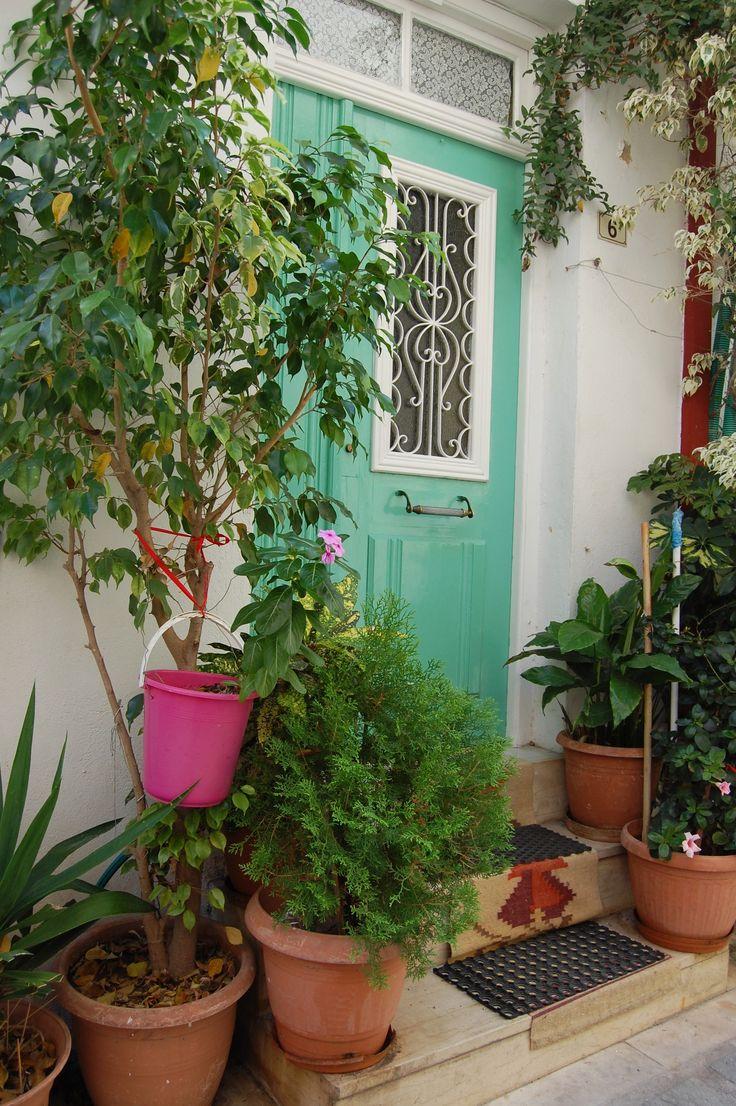 """colourful door and front-door """"garden"""", Crete"""