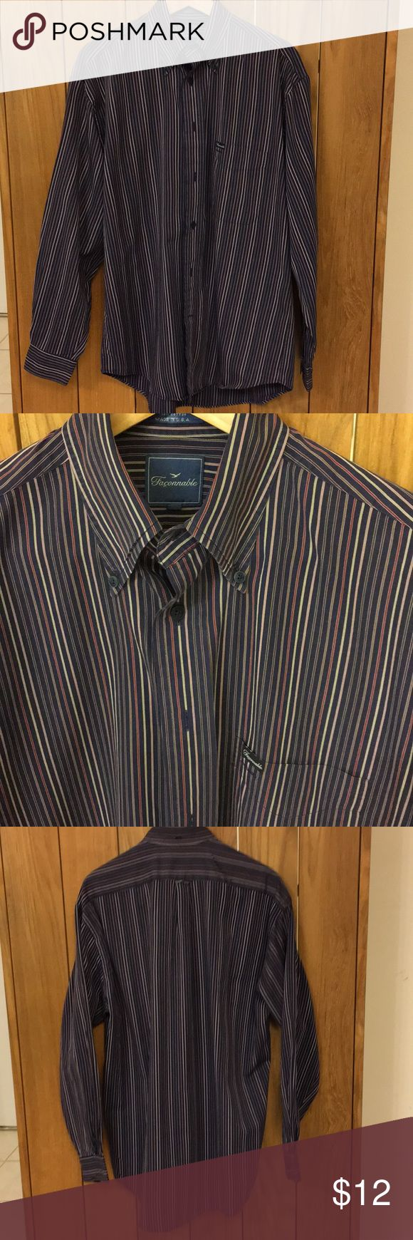 Faconnable LS Shirt M 100% Cotton  Great Condition Made in USA Stripes Faconnable Shirts Dress Shirts