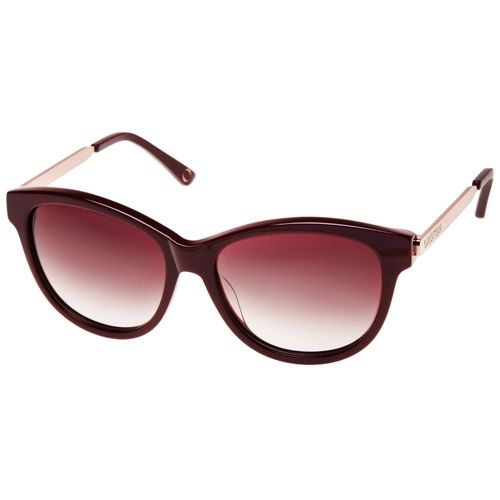 Oroton Evelyn Sunglasses. These Sunglasses Come In Brown Frames With A Touch of Red. The Lenses Match, and The Arms Have A Strip of Metallic Gold.