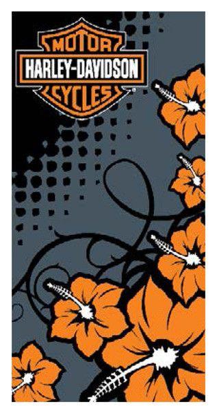 "Harley Davidson 28x58"" Flower Beach Towel"