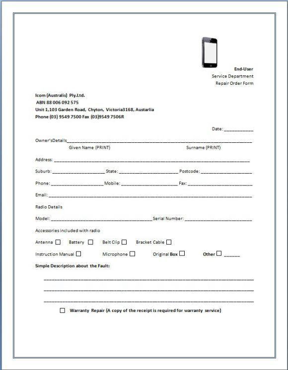 Cellphone Repair Invoice Service Cellphone Repair Invoice Template