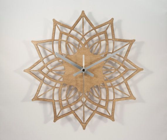 Modern wall clock  Contemporary Flower  wood by BeamDesigns