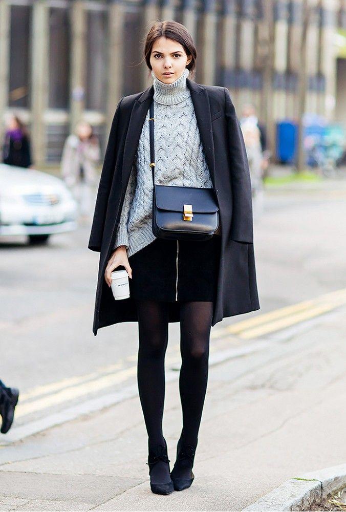 Miniskirt and chunky turtleneck sweater. // #streetstyle