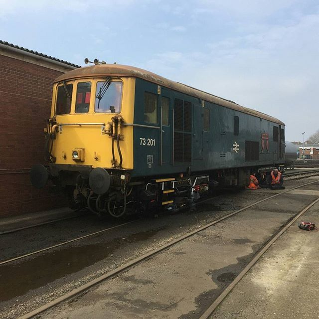 Class 73 electro diesel 73201 named Broadlands at Eastleigh Works - more pictures of my tour on my blog #trainspotting #toptrainpics