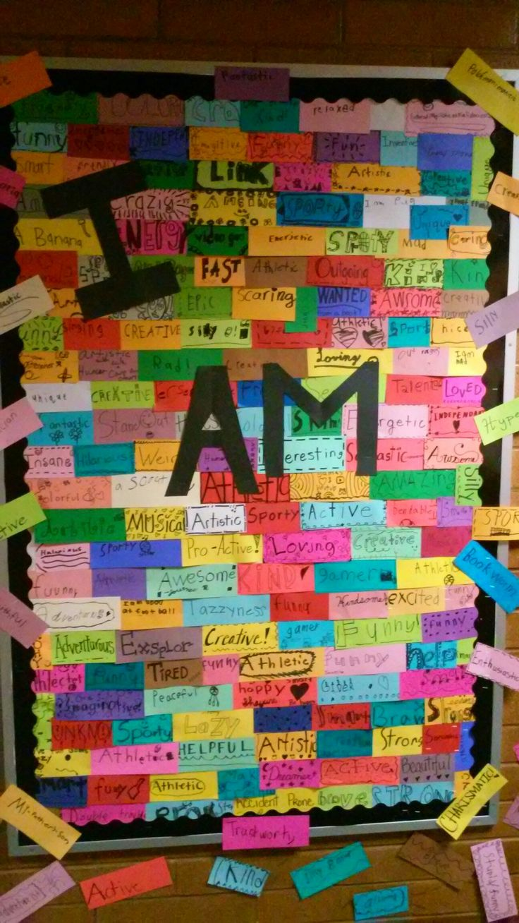 I did this with my students with our poetry unit. They had to come up with one word that described themselves. They wrote the word and decorated it on these strips of bright paper. They LOVED it and it made a great bulletin board!!